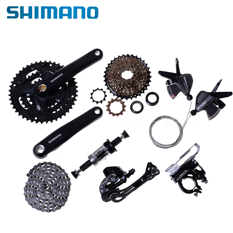 цена на Shimano M370 MTB Groupset Group Set Derailleur 3x9 27-speed 22-32-44T 170mm Bike Bicycle Crankset HG20-9 Cassette HG53 Chain