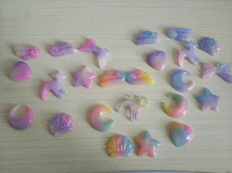 9PCS Resin Unicorn Star Shaped Slime Charms Mini Plasticine Slime Accessory Beads For DIY Decoration