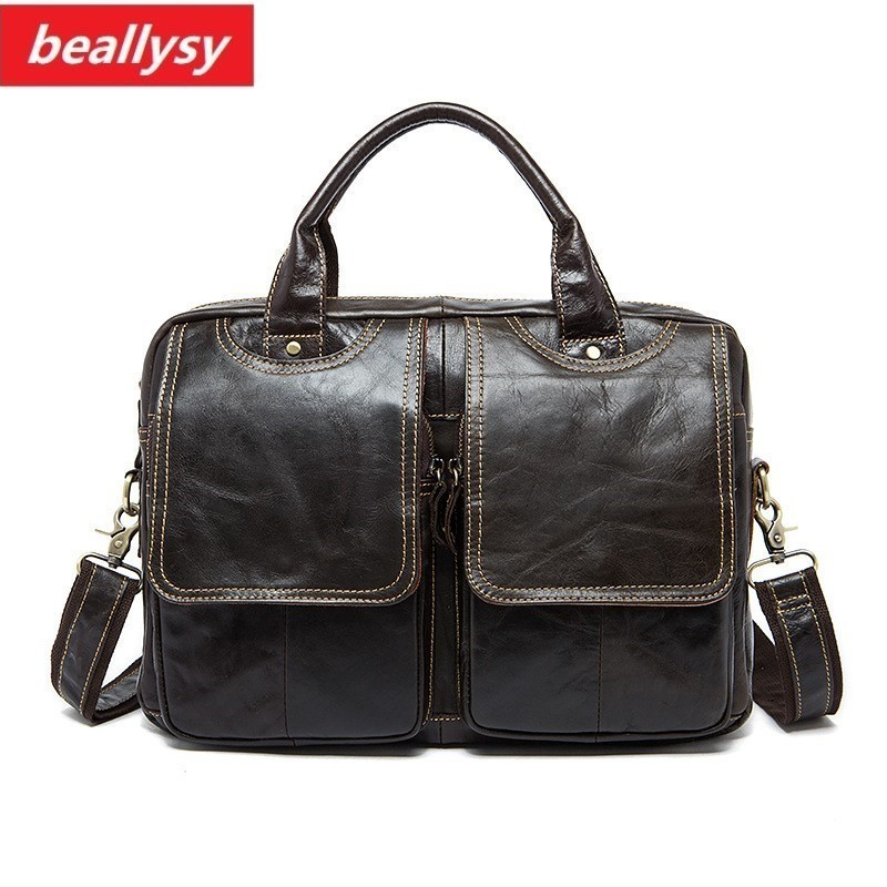 crazy horse Men's Briefcase Leather Laptop Bag Genuine Leather Men Bag business Men Messenger Shoulder Crossbody Bags Handbags retro crazy horse genuine leather bag business laptop bag briefcase men leather crossbody bag shoulder messenger men tote bag