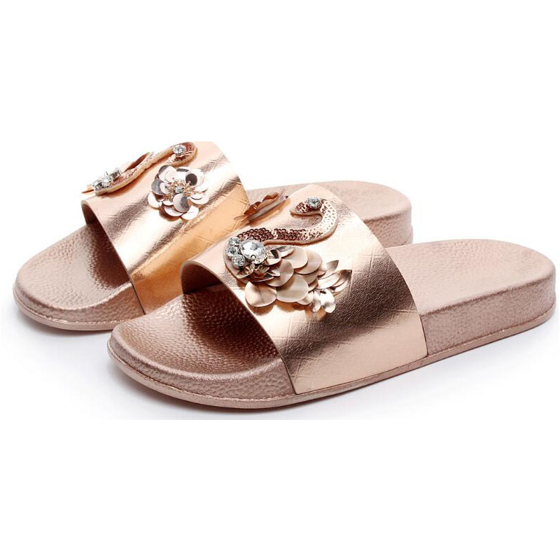 Women Slippers Rhinestone Beach Sandals Bling Flat Lady Slides Outdoor Home Flip flops Casual Summer Shoes 6h52
