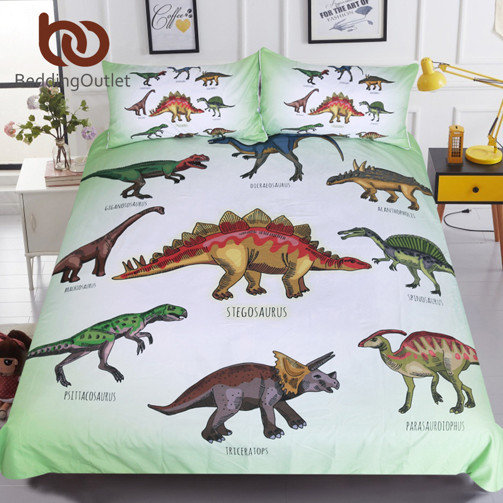 BeddingOutlet Dinosaur Family Bedding Set for Kids Cartoon Bed Cover Single Boys Duvet Cover Set Jurassic