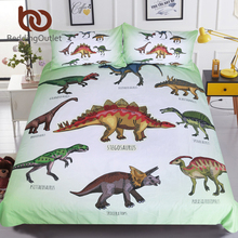 BeddingOutlet dinozor ailesi nevresim takımı çocuklar için karikatür yatak örtüsü tek erkek yorgan yatak örtüsü seti Jurassic baskılı yatak örtüsü