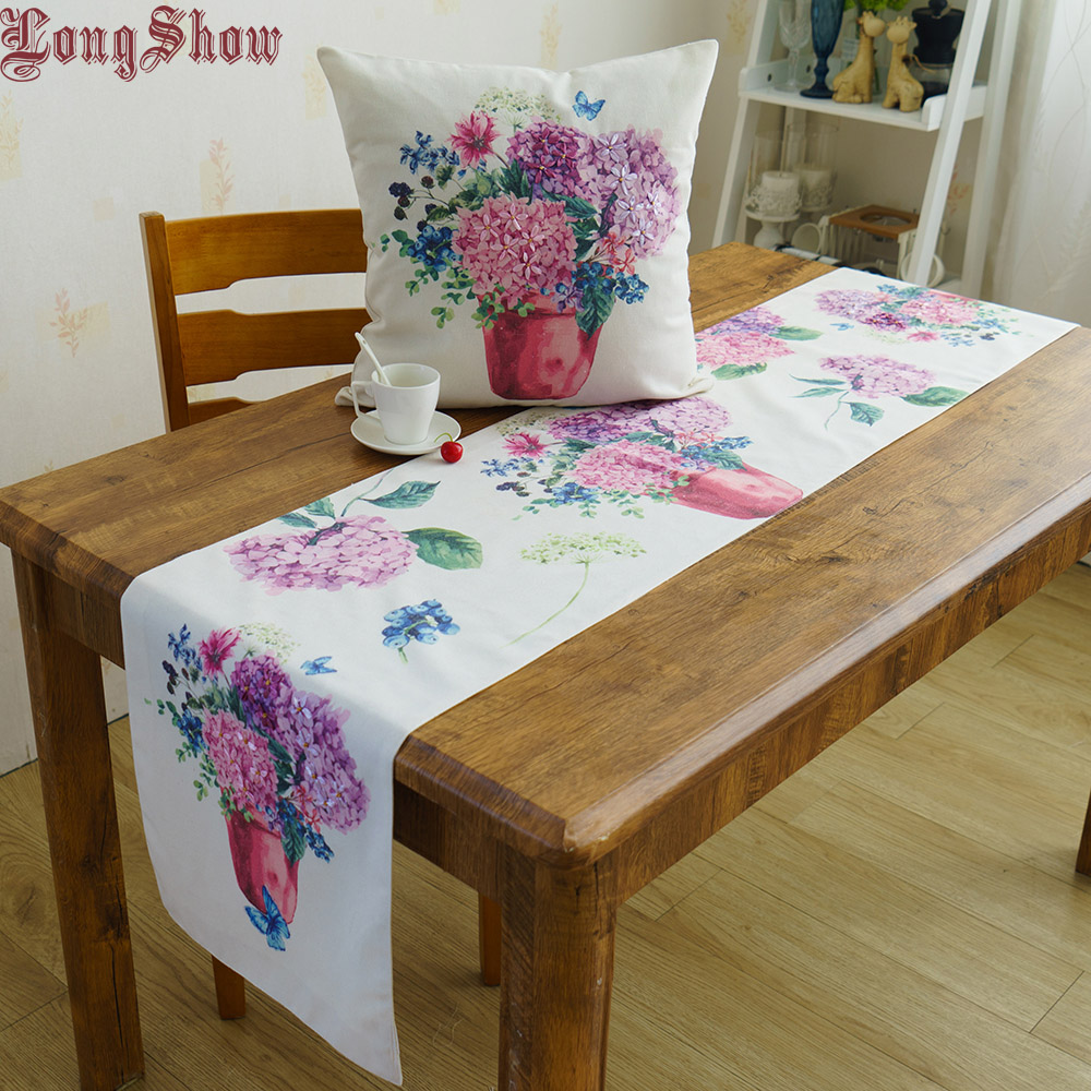 Pastorale Style White Color Cotton Cloth  Blueberry Hydrangea Thermal Transfer Printing Ribbon Embroidered Table Runner