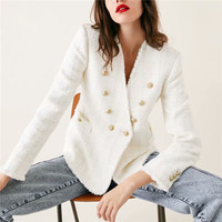 Women sweet V Neck tweed white blazer Double breasted pockets tassel hem female loose casual outwear chic tops