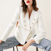 Women sweet V Neck tweed white blazer Double breasted pockets tassel hem female