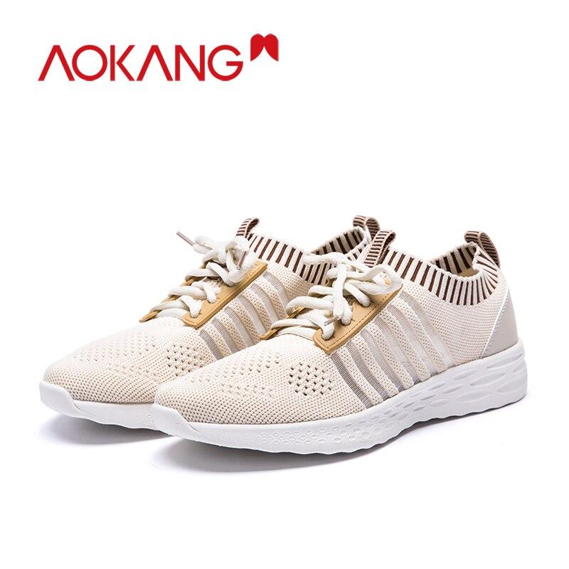 Aokang Mode Schoenen Vrouw Sneakers Fly Gebreide Voor Vrouwen Trainers Platform Schoenen Wedge Air Mesh Ademende Dames Casual Schoenen - 3