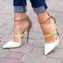 Neon Ankle Buckle Patent Leather Patchwork Ladies Sexy High Heels Spring Fashion White Leather Women Pumps Elegant Party Shoes