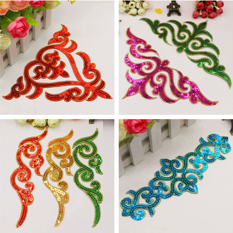 Iron On Appliques Sequined Flower Cosplay Patches Party Decoration Sequin Embroidery Vintage Metallic Cosplay Costumes Diy Trims