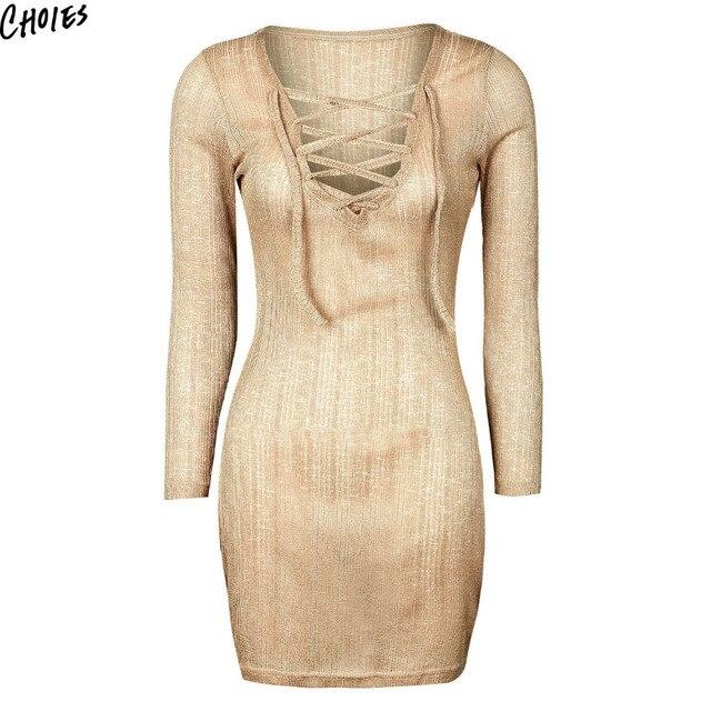 cb7b6e23e Gold Metallic Lace up Lattice Front Sexy Bodycon Dress Women Semi Sheer  Long Sleeve Deep V