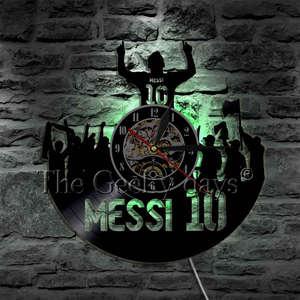 Image 4 - Joueur de Football Messi Silhouette ombre vinyle Record horloge murale personnalité décorative 3D horloge murale cadeau unique pour les Fans de Football