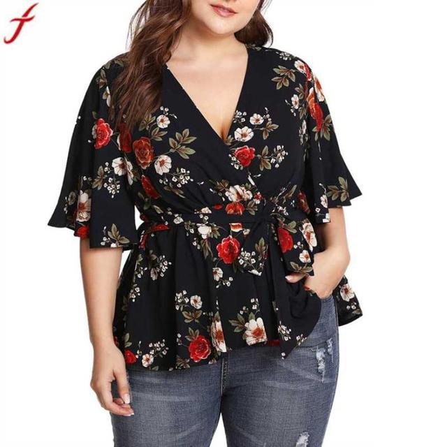 Vrouwen blouses en shirts 2018 Zomer V-hals Bloemen Gedrukt Tuniek Shirt Bandage Grote Maat Tops Losse Blouse camisa