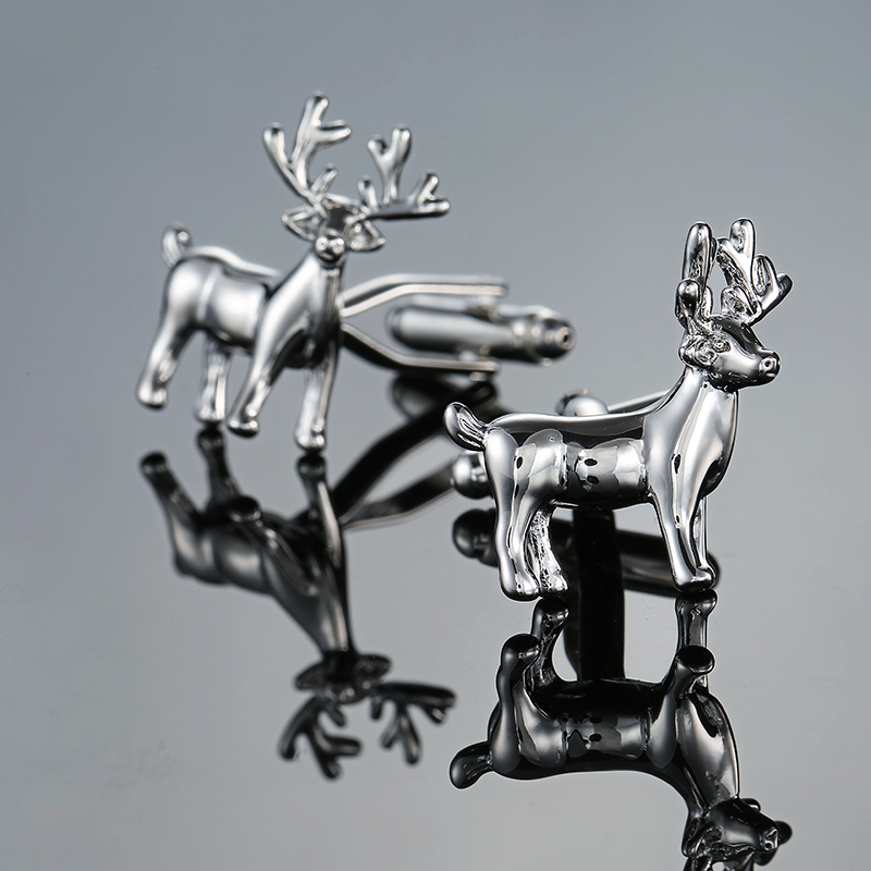 New Cuff links Christmas Gift Stainless steel deer Cufflink Novelty Xmas Gift French Button Present Deer Animal Jewelry Gemelos