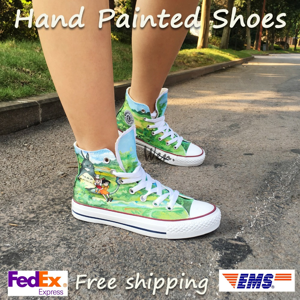 Wen Design Custom Anime Hand Painted Shoes My Neighbor Totoro Men Women's Green High Top Canvas Sneakers wen hand painted shoes design custom anime my neighbor totoro high top canvas sneakers for men women s christmas gifts