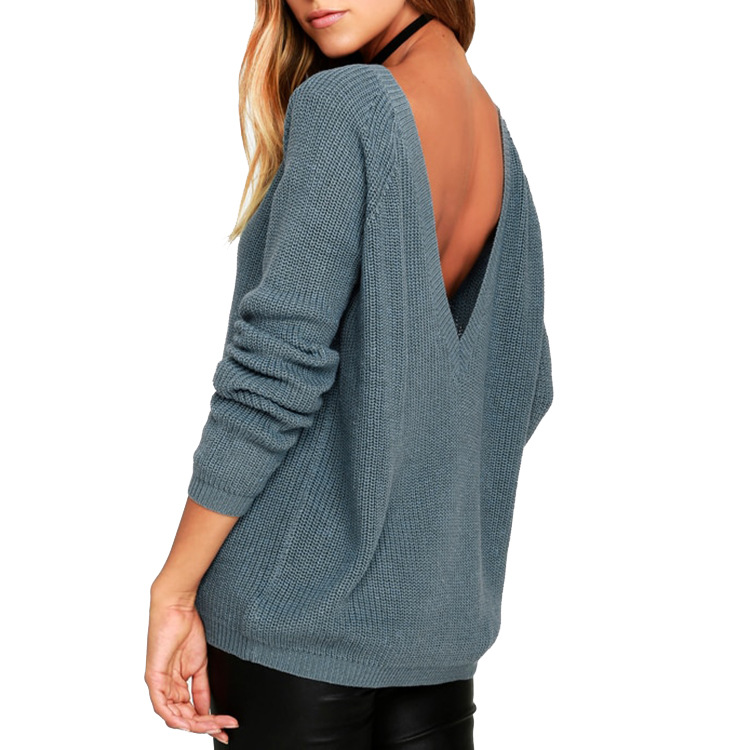 2020 Autumn And Winter New Women Sweater Female Explosion Models Europe Sexy Back Deep V-neck Open Back Pullovers 66813