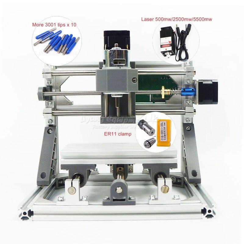 Mini CNC 1610 PRO + 500 mw laser CNC machine de gravure Pcb fraiseuse bricolage mini CNC routeur avec contrôle GRBL