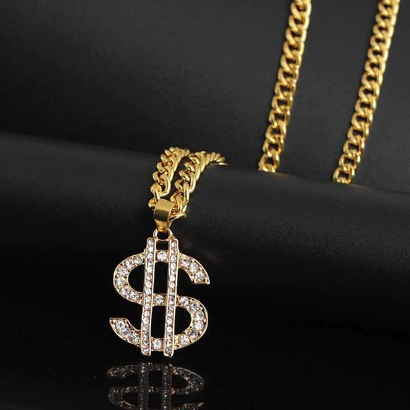 เครื่องประดับ Hip Hop US Dollar เงินจี้สร้อยคอเครื่องประดับทองคำผู้หญิงคริสต์มาสฤดูหนาวเสื้อกันหนาวสร้อยคอ Collier