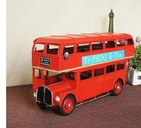 Factory direct 1954 London red double decker bus hand made vintage iron model decoration Home statue