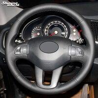 Shining wheat Black Genuine Leather Steering Wheel Cover for Kia Sportage Sportage 3 2011 2014 Kia Ceed 2010