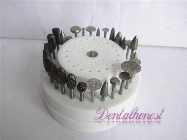 20 PCS Dental Diamante Burs + 10 Aço De Tungstênio Brocas Dentárias + 1 Caixa de Desinfecção 60 holer