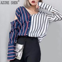 [AZURE SHEN] Spring Loose Striped Women's Blouse 2018 Casual Sexy Hit Color Button Long Sleeve Off Shoulder Strapless Shirt U353