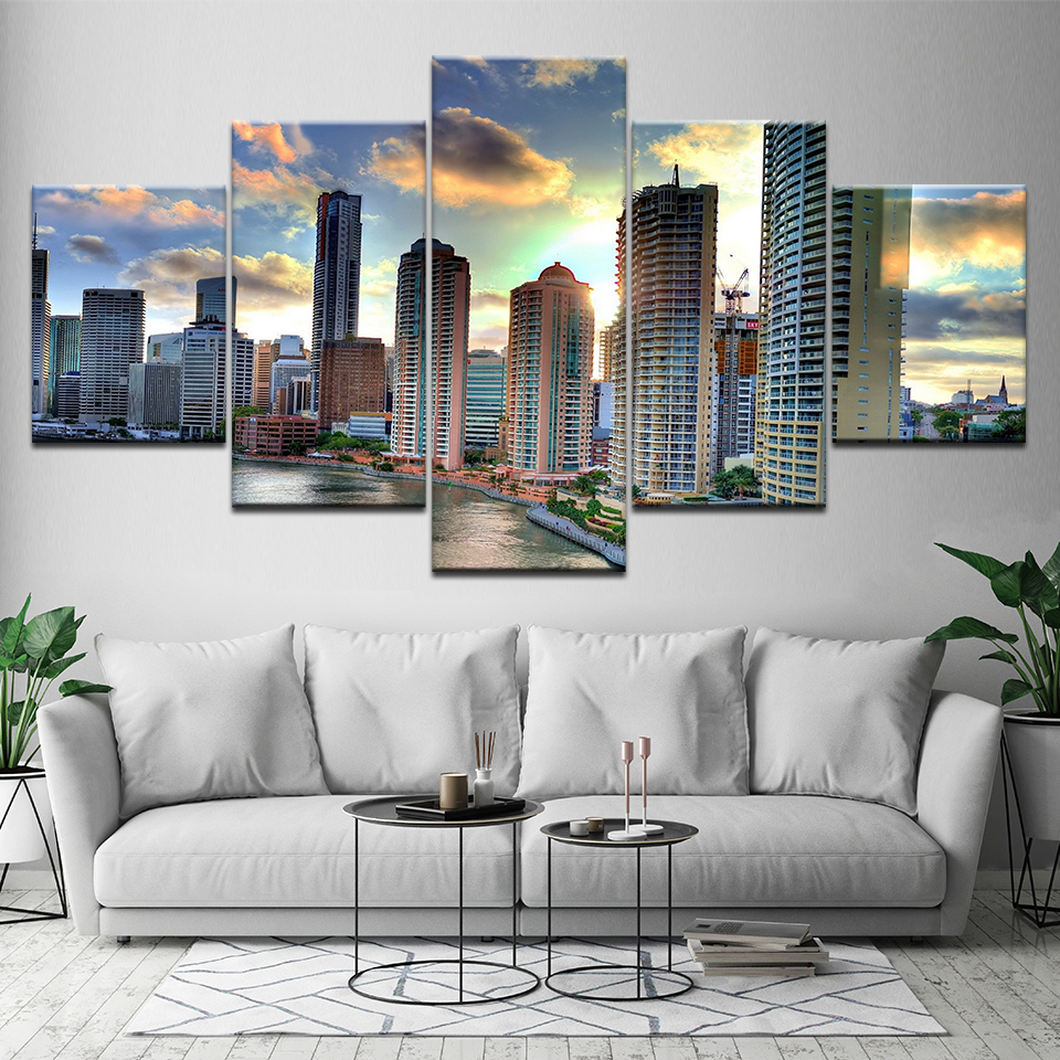 Aliexpress.com : Buy Canvas Painting Brisbane City Views 5