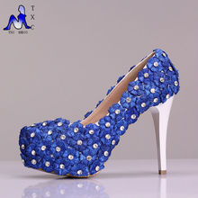 2015 neue ankunft prinzessin pumpen, schöne blaue spitze hochzeit brautschuhe partei high heels Brautjungfer Schuhe