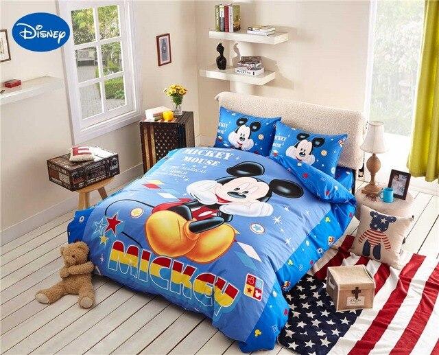 Cartoon disney print beddengoed set katoen blauw kleur mickey