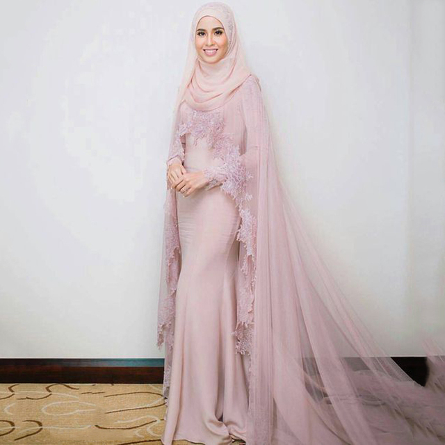 5eaa3b3dafc Muslim Evening Dresses 2018 Mermaid Long Sleeves Appliques Lace Formal  Scarf Islamic Dubai Kaftan Saudi Arabic Long Evening Gown-in Evening Dresses  from ...