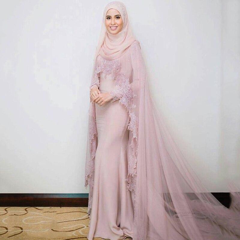 Muslim   Evening     Dresses   2018 Mermaid Long Sleeves Appliques Lace Formal Scarf Islamic Dubai Kaftan Saudi Arabic Long   Evening   Gown