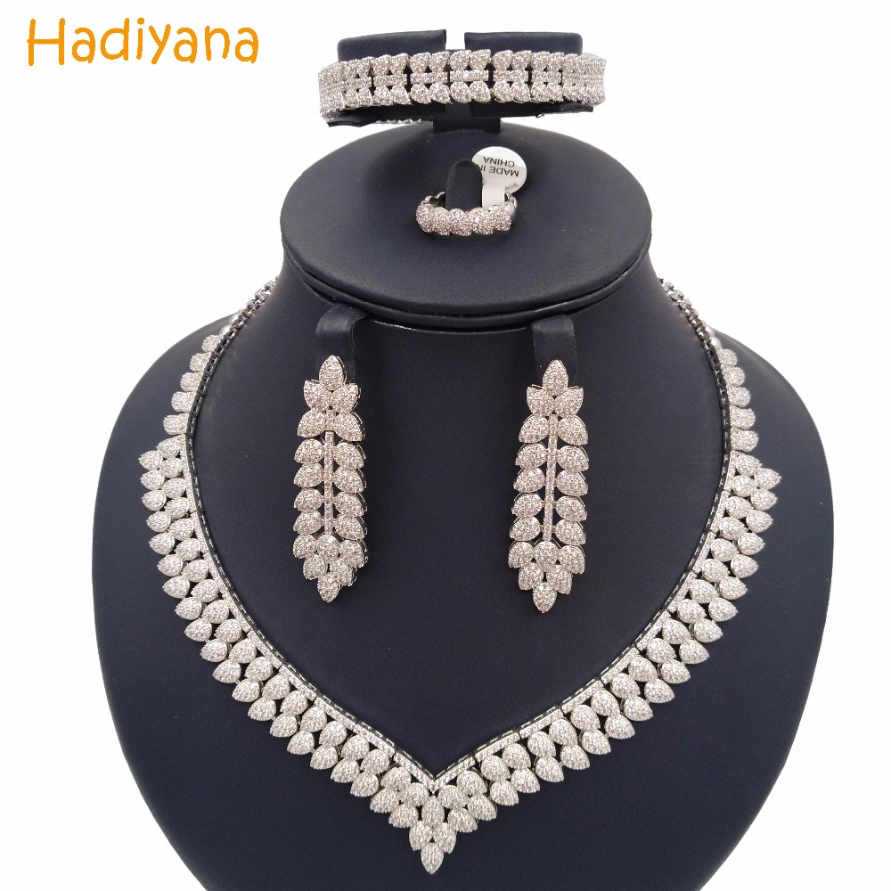 Hadiyana Sparkling Pave Cubic Zircon Jewelry Set Crystal 4pcs V Shape Water Drop Trendy Big Set For Women Wedding or Party CN166