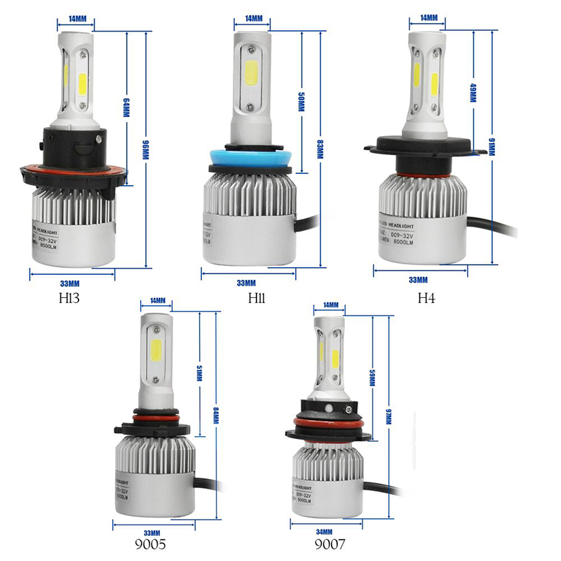 MODERN CAR 2x Decoders+COB 3Sided LED Headlight Bulbs Error Free Canbus H1 9005 9006 H7 H11 9012 H16 H10 880 H4 H13 Headlights