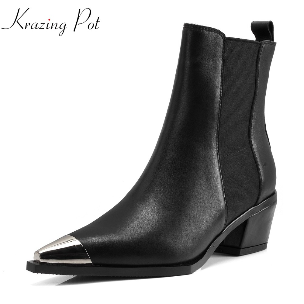 Krazing Pot European design full grain leather metal decoration pointed toe women thick heel streetwear casual ankle boots L58 цена 2017