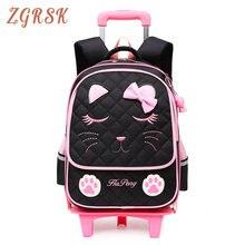Children Removable School Backpacks Bags 2/6 Wheels For Girls Trolley Back Pack Kids Wheeled Bag Travel Luggage Bookbag