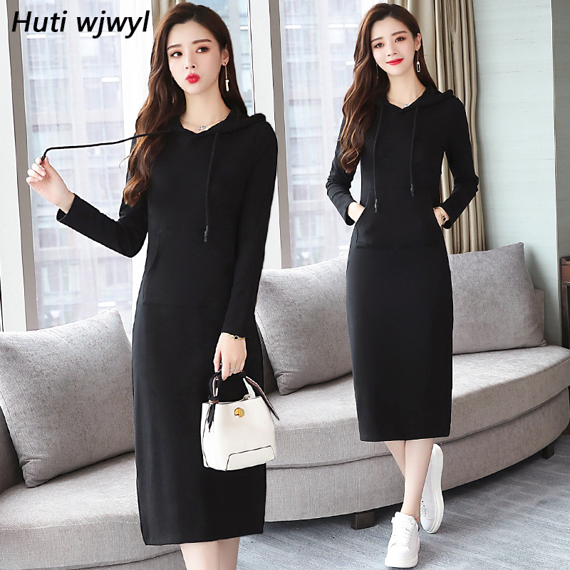 Plus Size 2018 Autumn Winter New Black Midi Dresses Women Elegant Korean Bodycon V-Neck Dress Party Long Sleeve Runway Vestidos