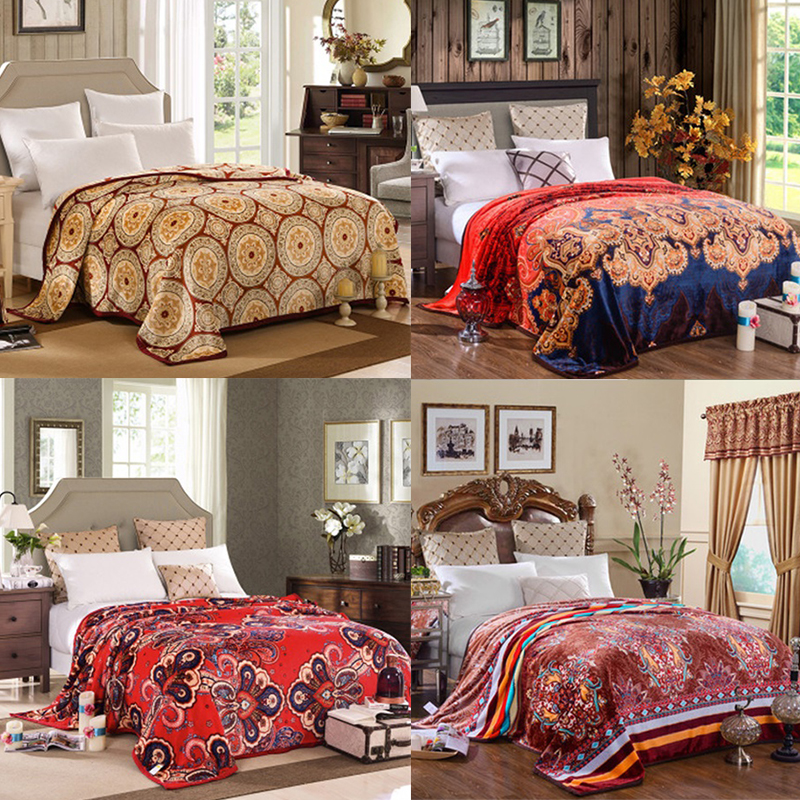 flora medallion plush soft flannel blanket throws size bedsofa - Flannel Sheets Queen