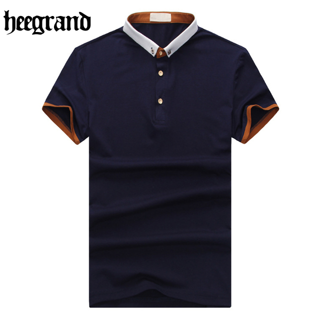 HEE GRAND 2017  Fashion Men Short Sleeve Cotton Blend Casual Breathable Man Polo Shirts 4 Colors MTP388