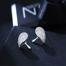 925 sterling silver Stud earrings Temperament of mushrooms Set auger allergy Ladies fashion jewelry wholesale цена
