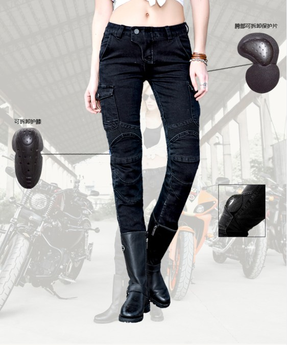 Free shipping 2017 Uglybros Motorpool Ubs06 Jeans Motorcycle Pants Women's Style Moto Pants Black Racing Jeans size: 25 26 27 japan style brand mens straight denim cargo pants biker jeans men baggy loose blue jeans with side pockets plus size 40 42 44 46