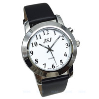 English Talking Watch for Blind People or Visually Impaired People, Talking Date and Time, White Dial, Black Leather Strap