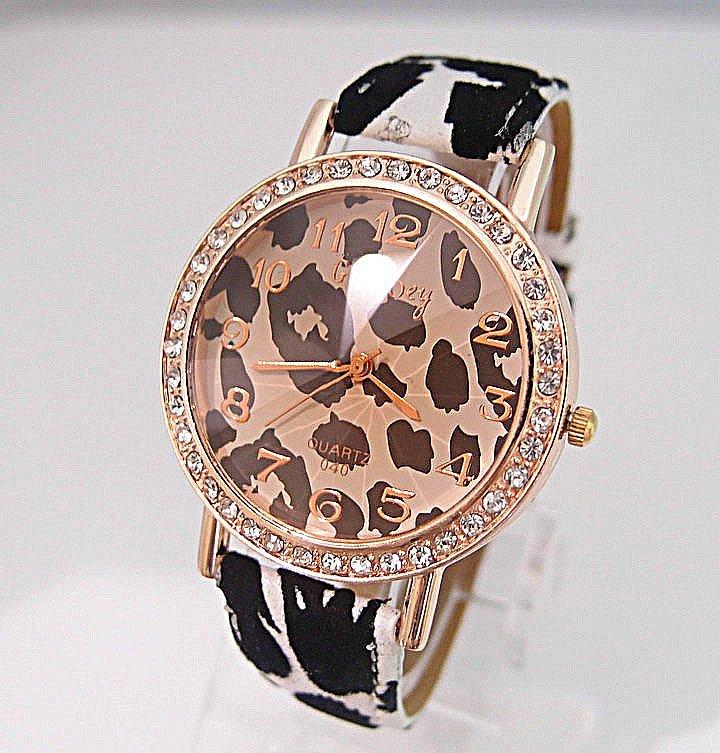 High Quality Gogoey Brand Leopard grain leather watch women ladies crystal dress quartz wrist watch Relogio Feminino Go003