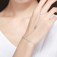 BAMOER New Arrival Authentic 925 Sterling Silver Double Layer Magic Of Blue Eye Bracelets For Women
