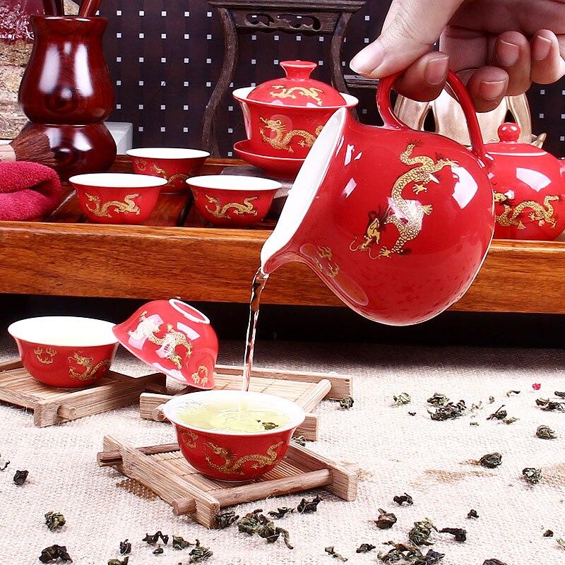 11 pièces en céramique thé Kung Fu thé Jingdezhen haute qualité ensemble de thé Chinois dragon décoration de mariage cadeaux De Vacances
