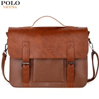VICUNA POLO Promotion Brand Cover Open Mens Leather Handbag Vintage Casual Messenger Bag Men Leather Laptop
