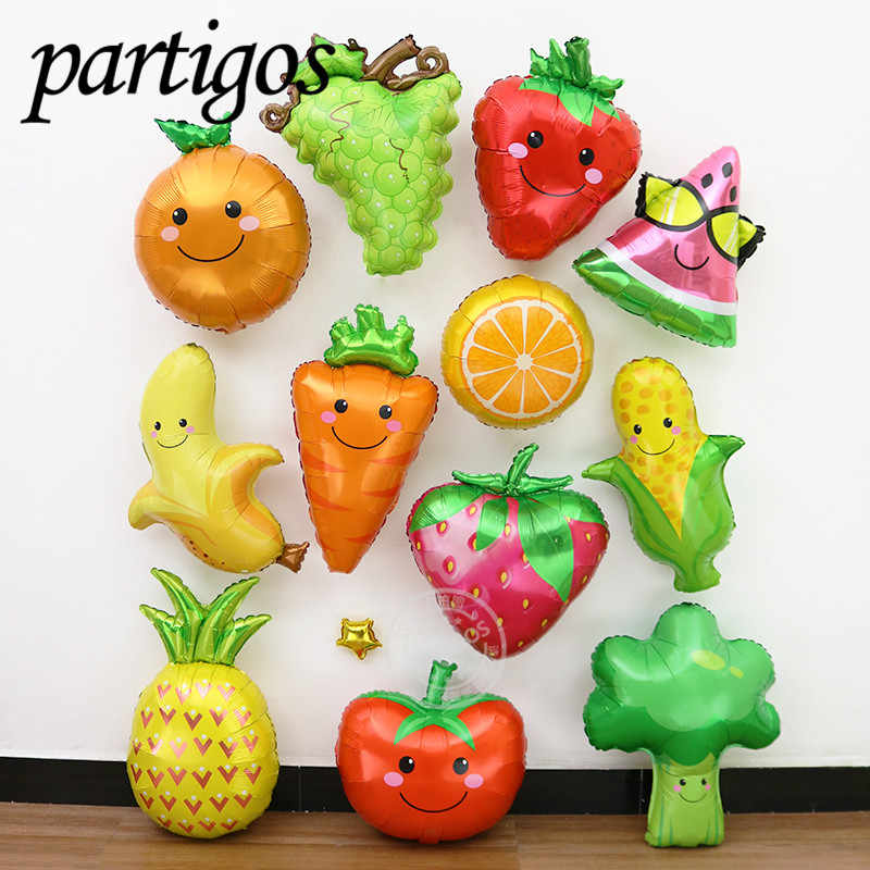 1 pcs Fruit Groenten Ballonnen Zomer Party Decor aardbei ananas watermeloen bal helium Hawaii party decor tropische fruit