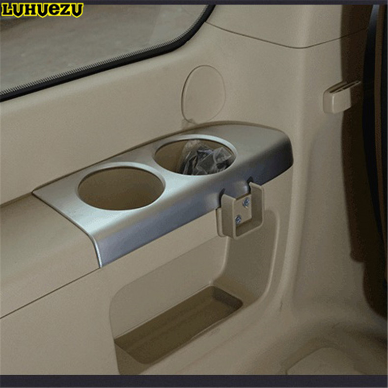 Luhuezu 2pcs Interior Silver Rear Seat Cup Trim Styling Trims For Toyota Land Cruiser 200 FJ200 Accessories 2008 2017
