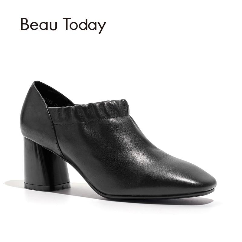 цена BeauToday Retro Women Pumps Brand Genuine Cow Leather High Heel Square Toe Ankle Lady Shoes Top Quality Handmade 15703 онлайн в 2017 году