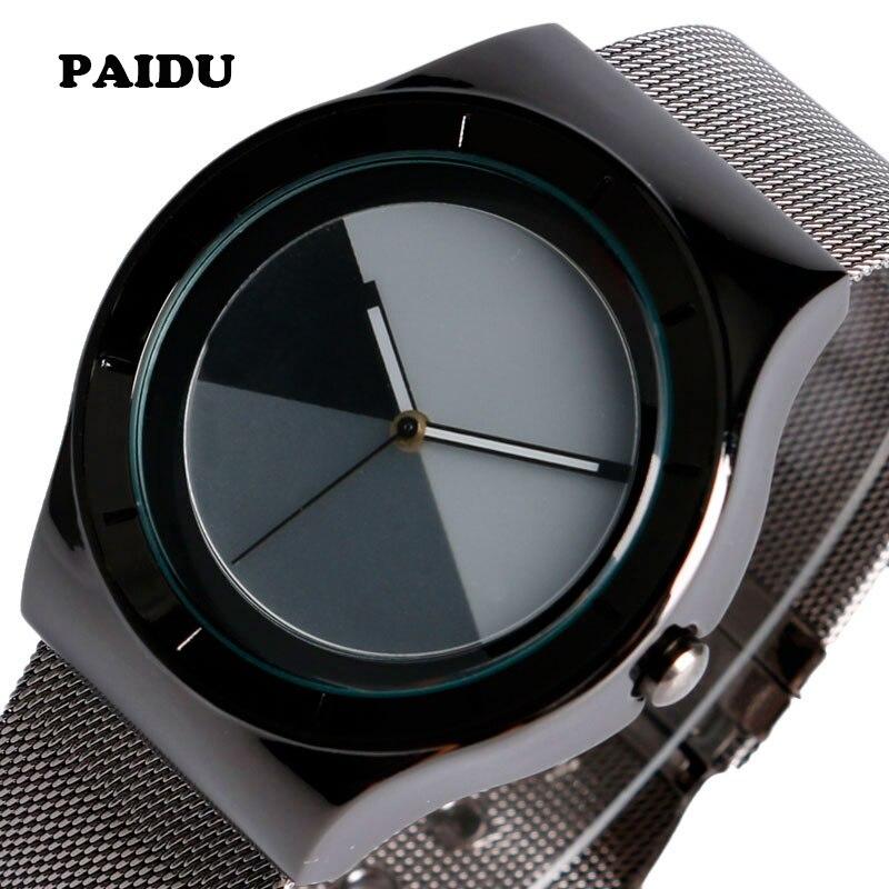 PAIDU Unique Sport Mesh Stainless Steel Strap Bracelet Quartz Wrist Watch Mens Modern Splice Color Dial Gift Cool