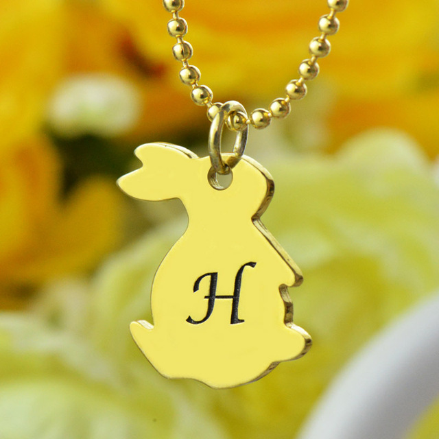 Tiny Rabbit Necklace with Initial in Gold Personalized Monogram Rabbit Necklace Love Adorable Bunny Necklace Initial Jewelry