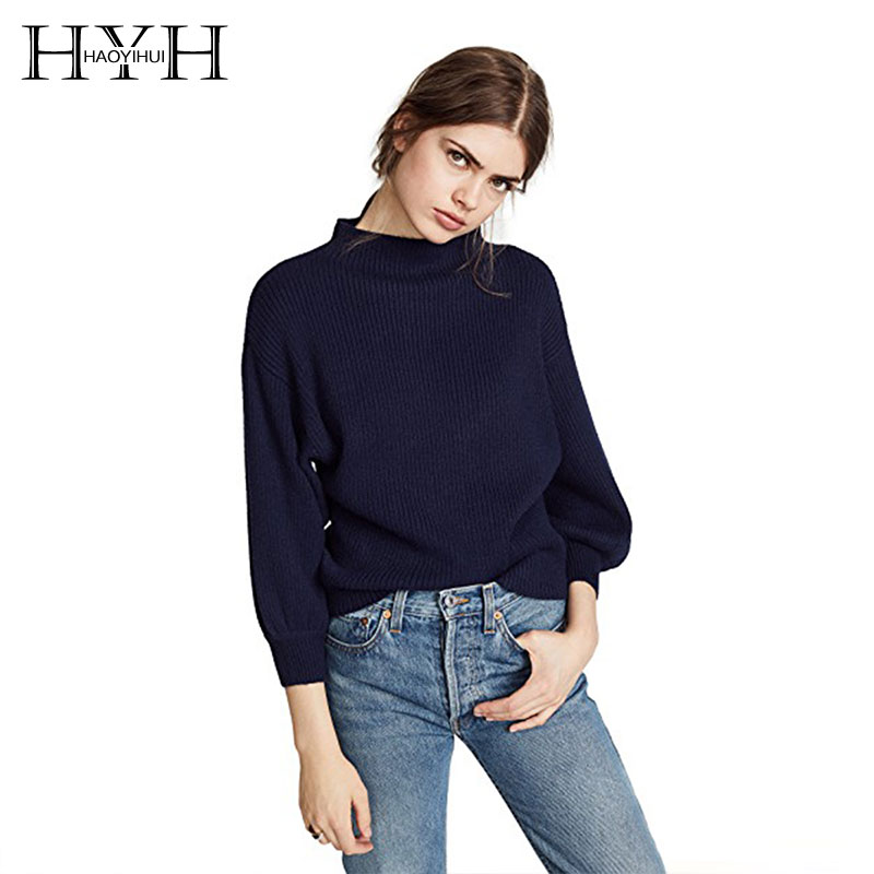 Design; In Ambitious Hyh Haoyihui Lady Simple And Pure Color Half High Collar Rotator Cuff Sweater Autumn New Tops For Women 2018 Streetwear Holiday Novel