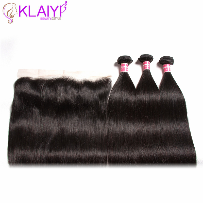 Klaiyi Peruvian Straight Hair 13*4 Lace Frontal Closure With Bundles Remy Human Hair 3 Bundles With Frontal Closure